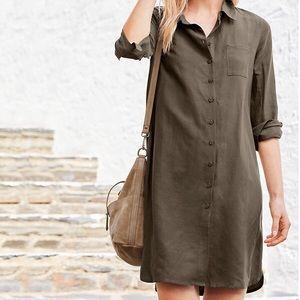 New Garnet Hill silk/linen shirt dress, 10